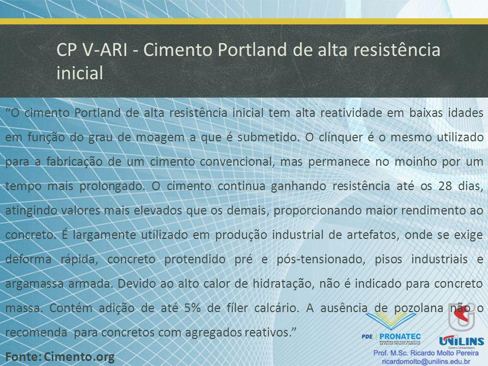 CP V-ARI - Cimento Portland de alta resistência inicial