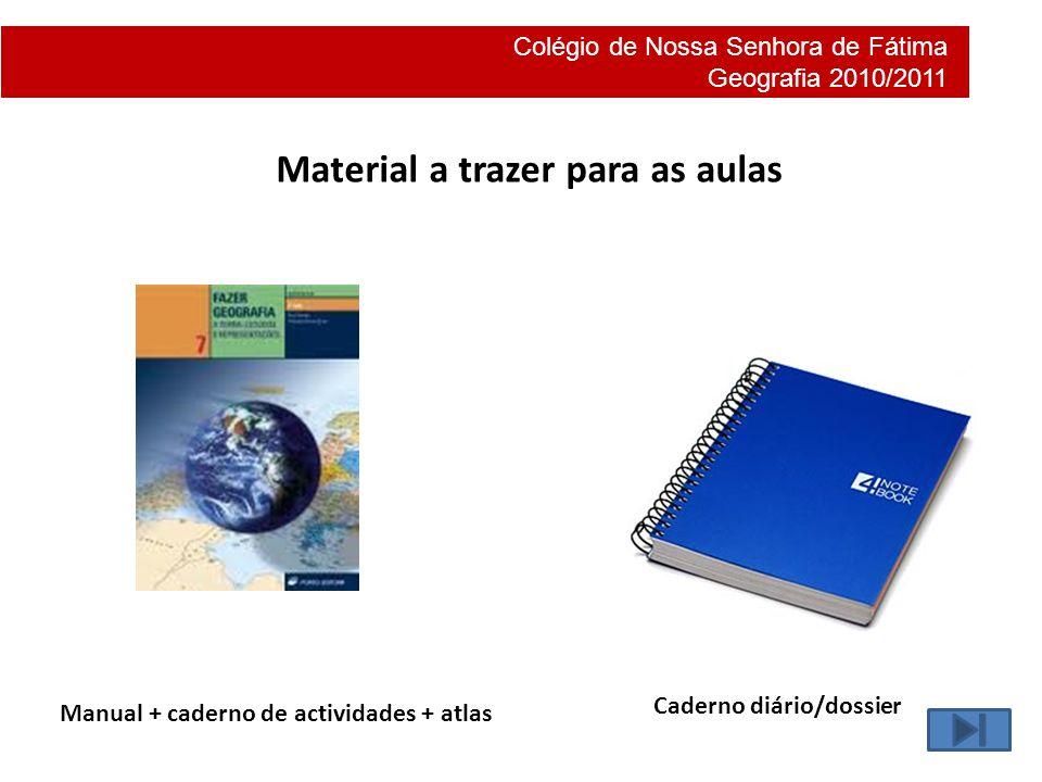 Material a trazer para as aulas
