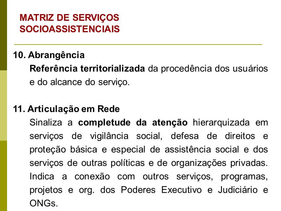 MATRIZ DE SERVIÇOS SOCIOASSISTENCIAIS