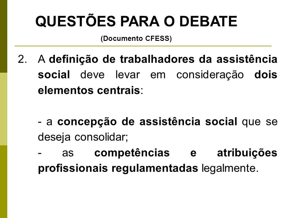 QUESTÕES PARA O DEBATE (Documento CFESS) A definição de trabalhadores da assistência social deve levar em consideração dois elementos centrais: