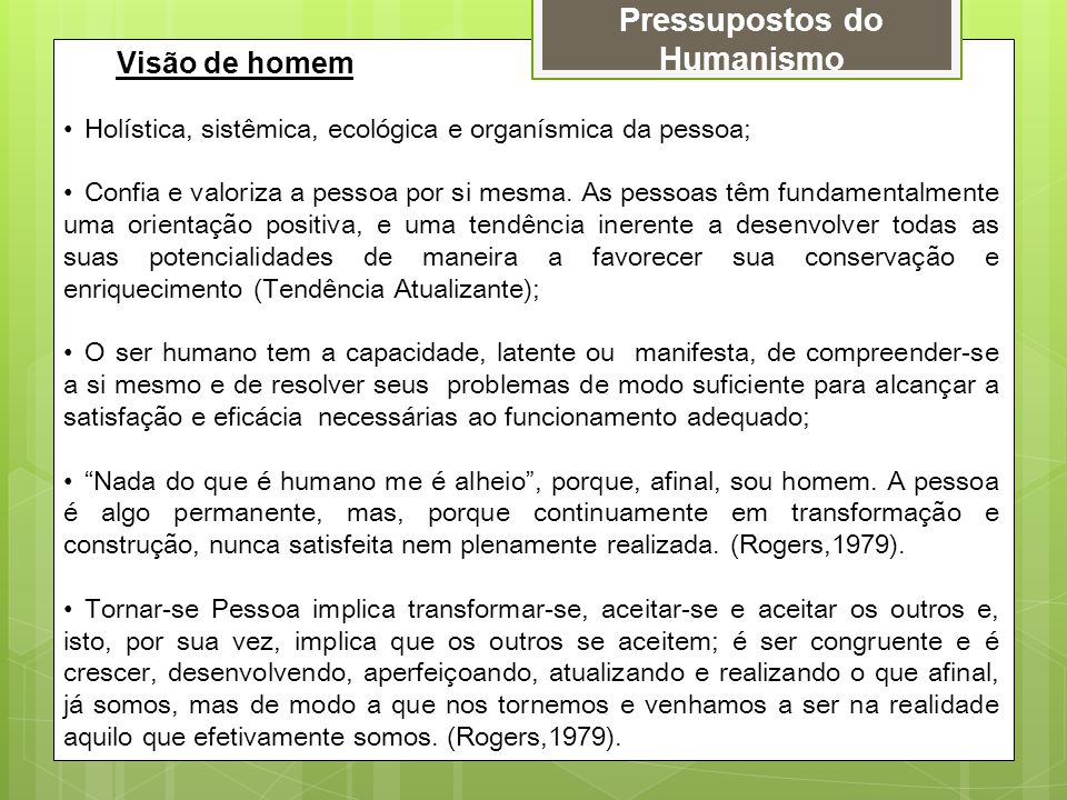 Pressupostos do Humanismo