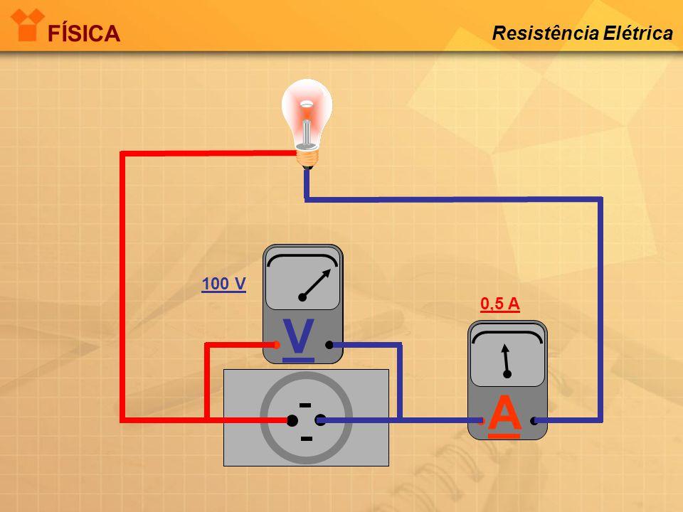 FÍSICA Resistência Elétrica V V 100 V 0,5 A A