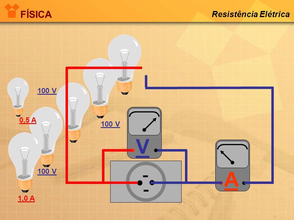 FÍSICA Resistência Elétrica V A 100 V 0,5 A 100 V 100 V 1,0 A