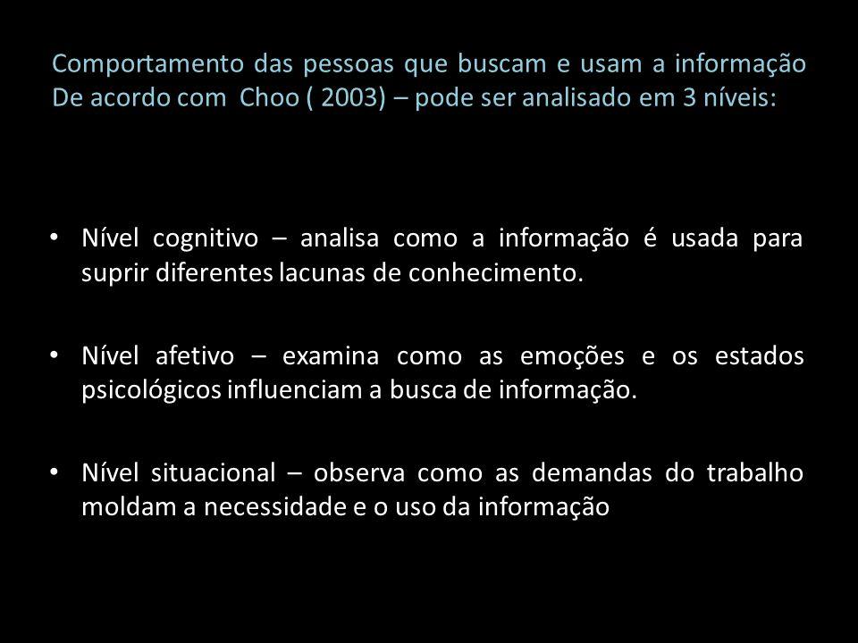 Comportamento das pessoas que buscam e usam a informação De acordo com Choo ( 2003) – pode ser analisado em 3 níveis:
