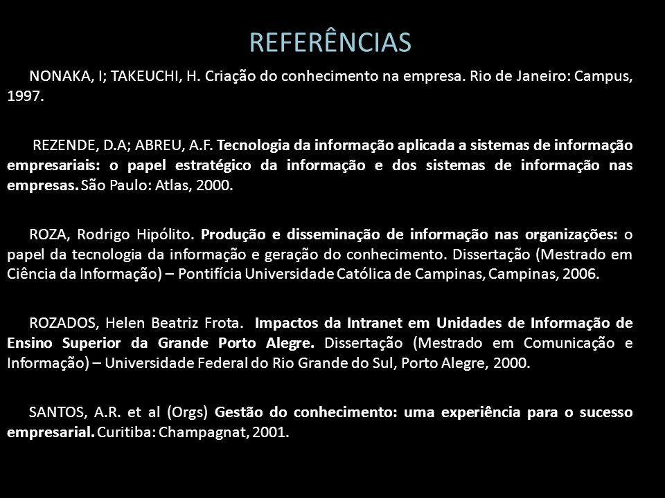 REFERÊNCIAS NONAKA, I; TAKEUCHI, H. Criação do conhecimento na empresa. Rio de Janeiro: Campus, 1997.
