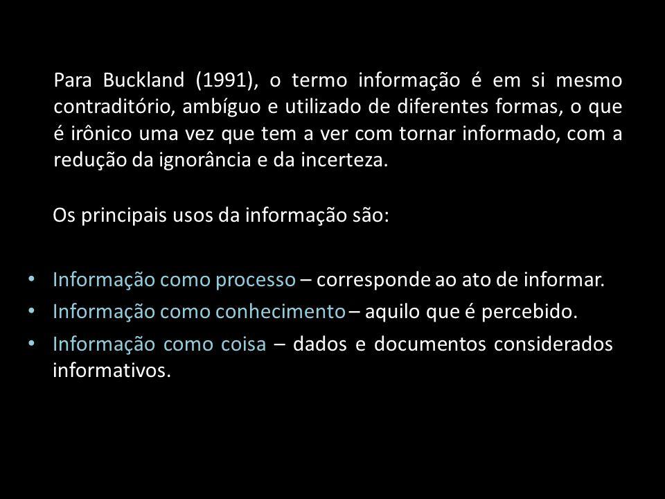 Para Buckland (1991), o termo informação é em si mesmo contraditório, ambíguo e utilizado de diferentes formas, o que é irônico uma vez que tem a ver com tornar informado, com a redução da ignorância e da incerteza.