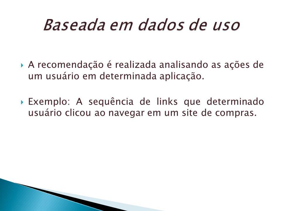 Baseada em dados de uso A recomendação é realizada analisando as ações de um usuário em determinada aplicação.