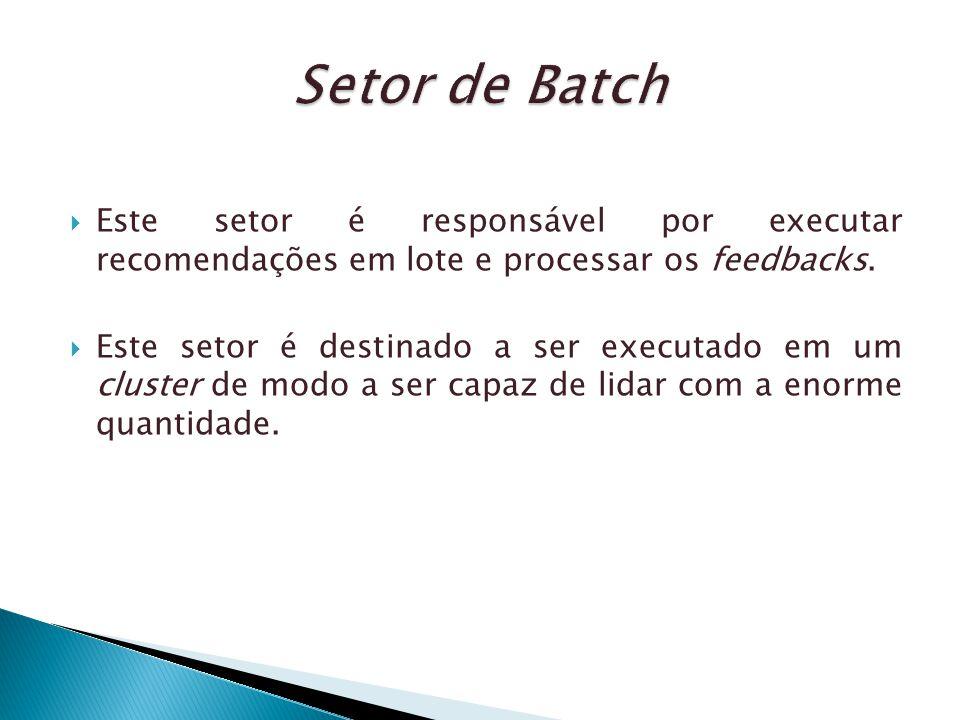 Setor de Batch Este setor é responsável por executar recomendações em lote e processar os feedbacks.