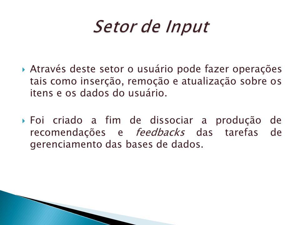 Setor de Input Através deste setor o usuário pode fazer operações tais como inserção, remoção e atualização sobre os itens e os dados do usuário.