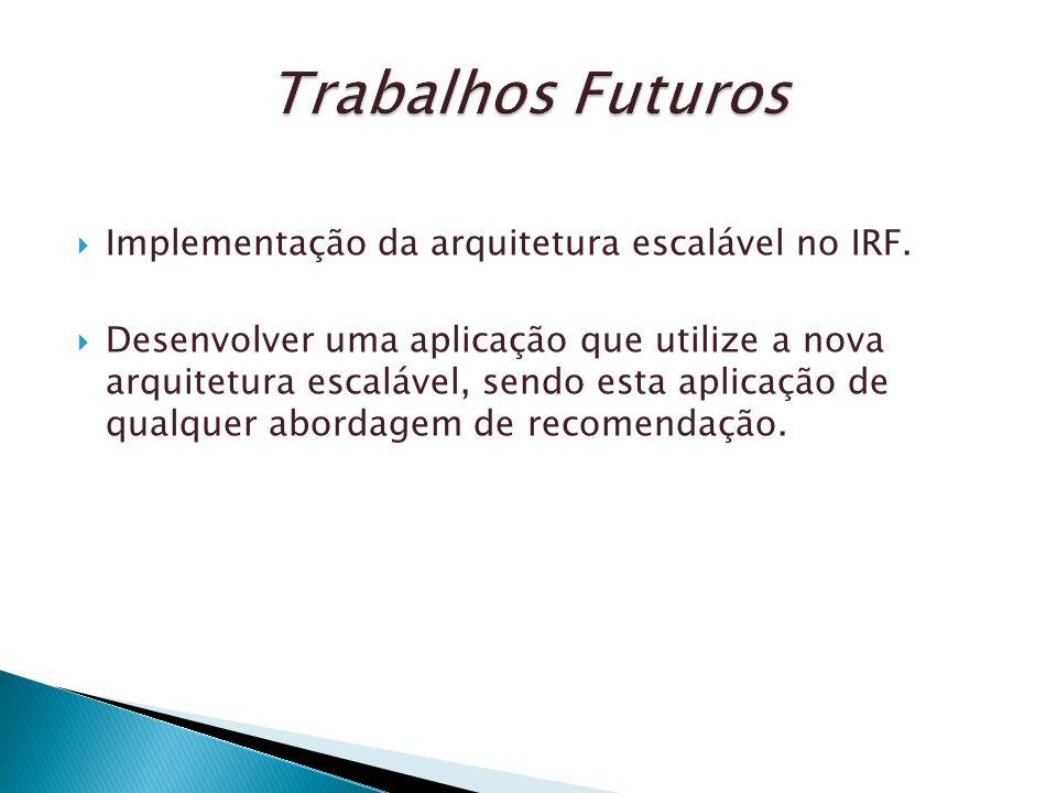 Trabalhos Futuros Implementação da arquitetura escalável no IRF.