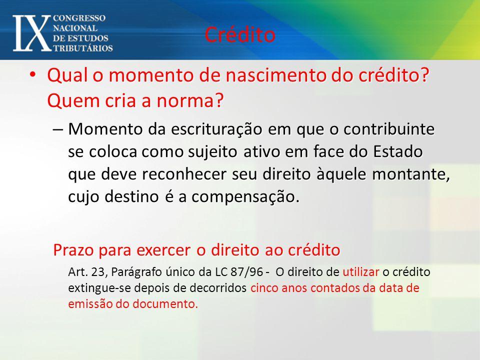 Crédito Qual o momento de nascimento do crédito Quem cria a norma
