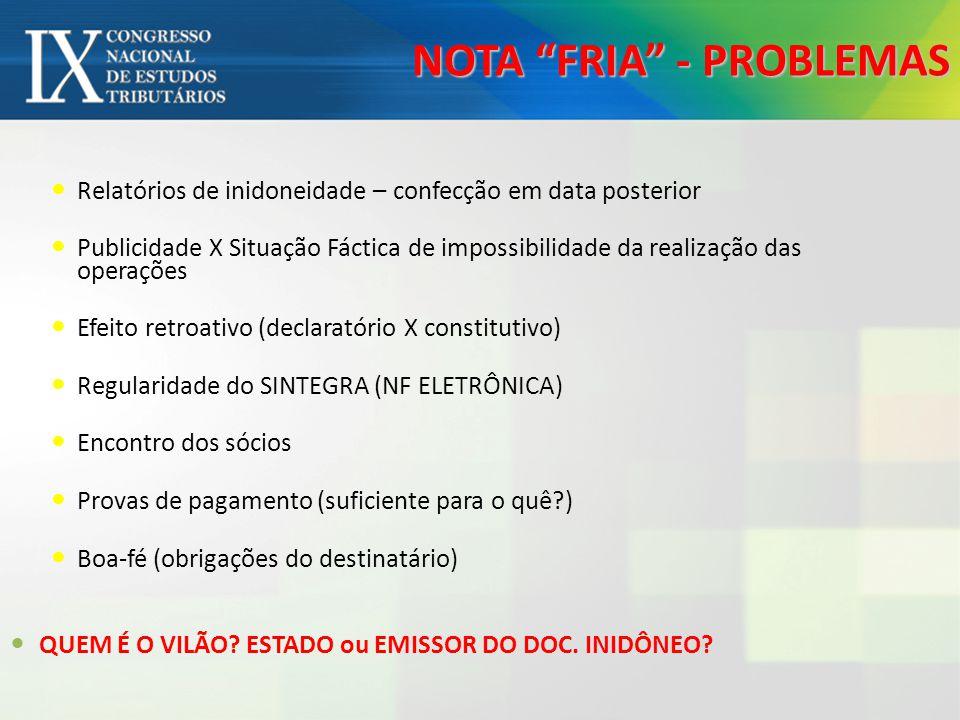 NOTA FRIA - PROBLEMAS