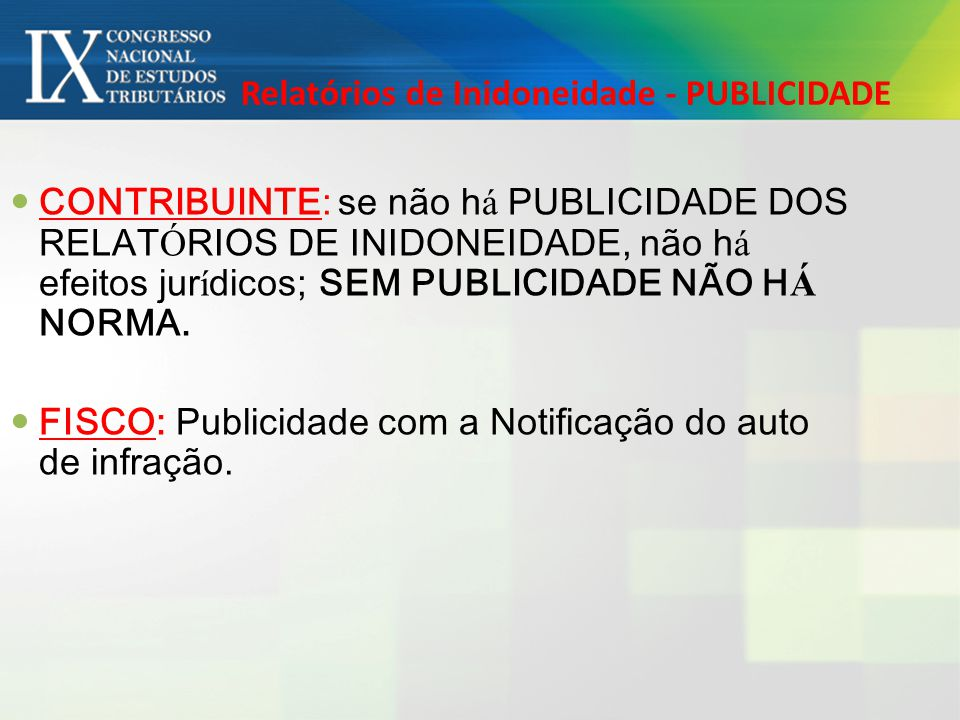 Relatórios de Inidoneidade - PUBLICIDADE