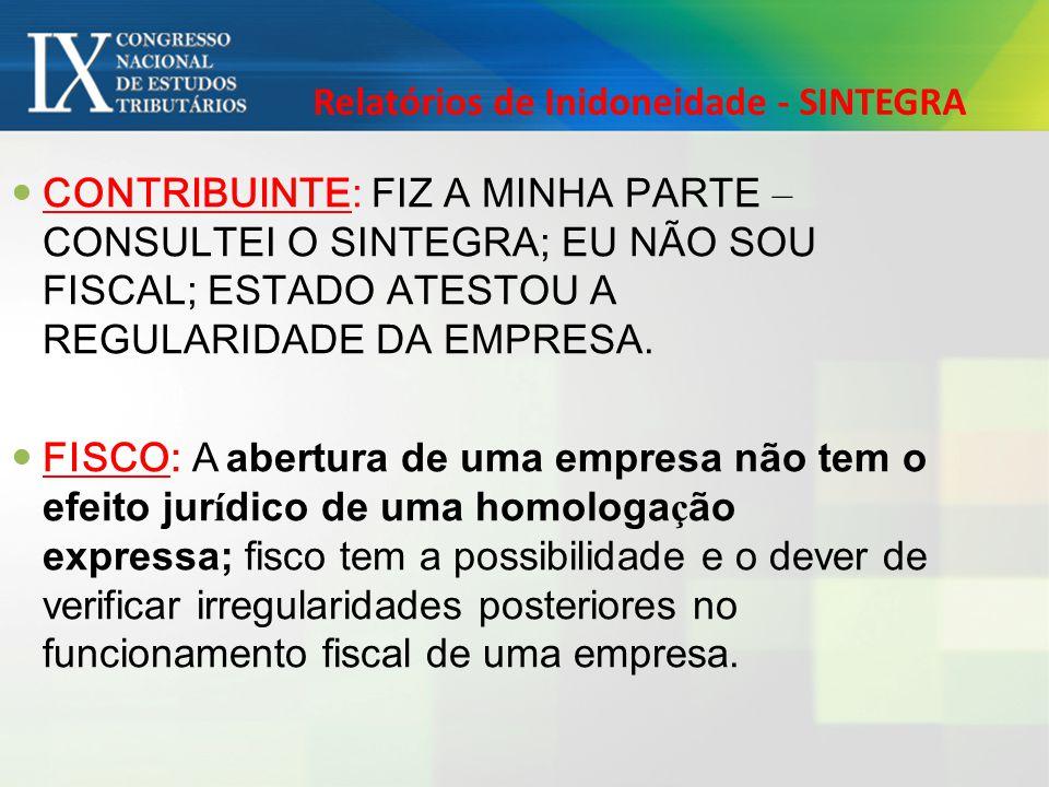 Relatórios de Inidoneidade - SINTEGRA