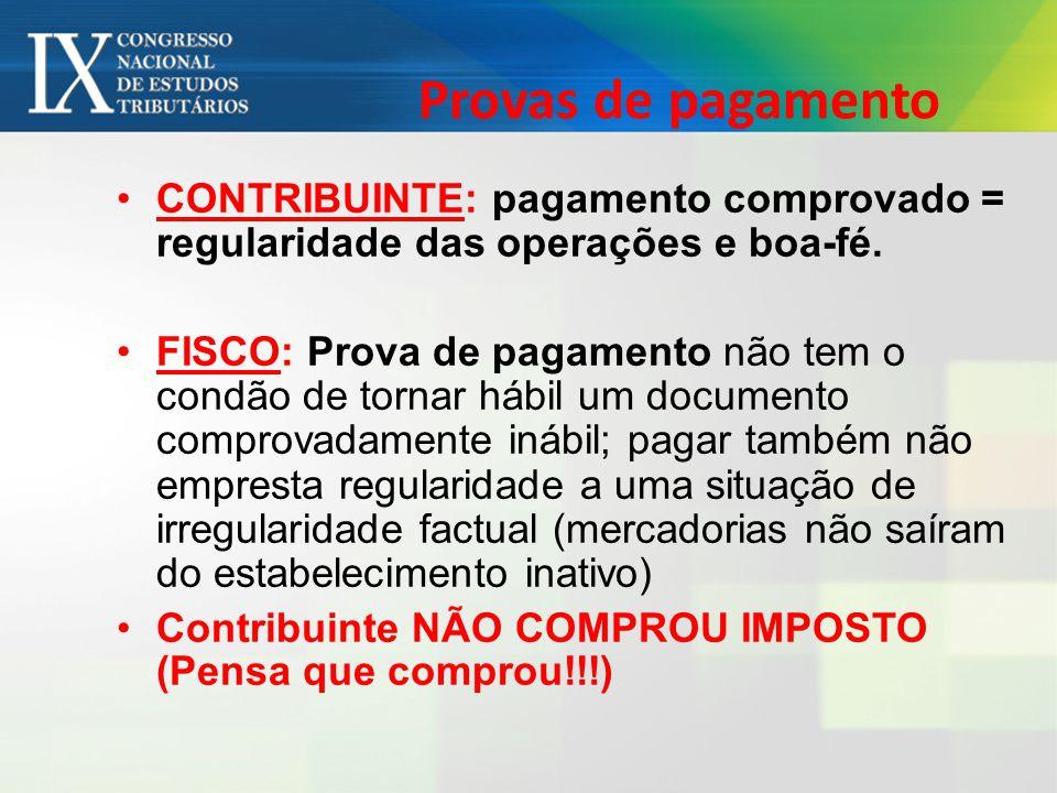 Provas de pagamento CONTRIBUINTE: pagamento comprovado = regularidade das operações e boa-fé.