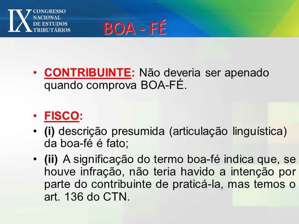 BOA - FÉ CONTRIBUINTE: Não deveria ser apenado quando comprova BOA-FÉ.