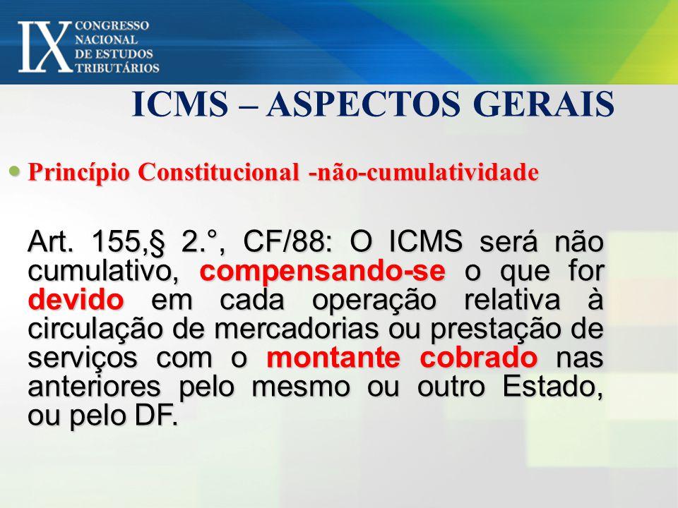 ICMS – ASPECTOS GERAIS Princípio Constitucional -não-cumulatividade.