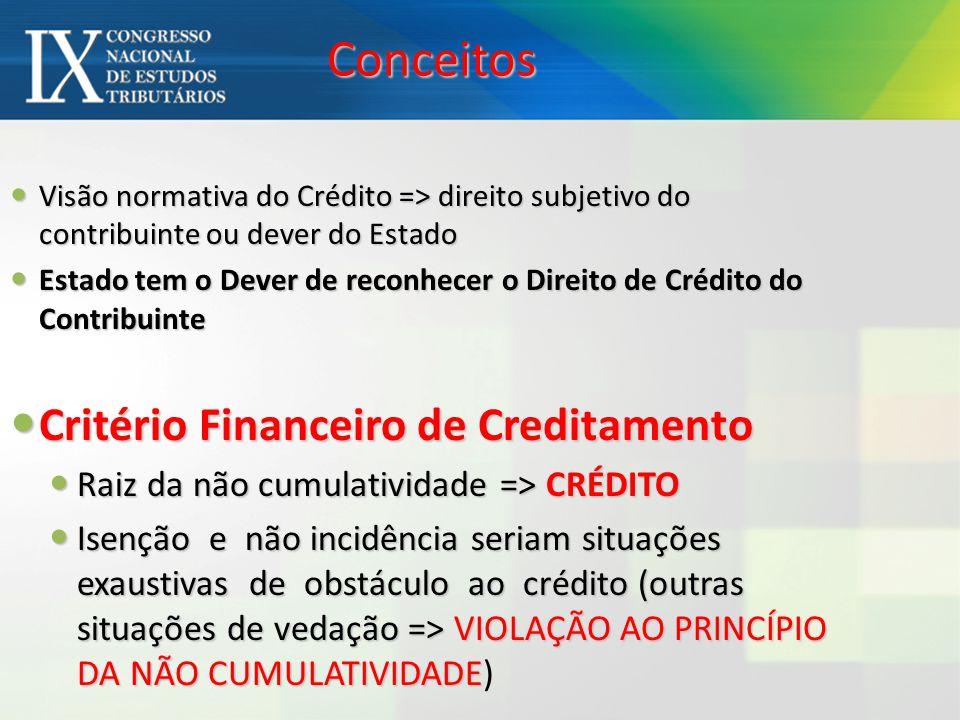 Conceitos Critério Financeiro de Creditamento