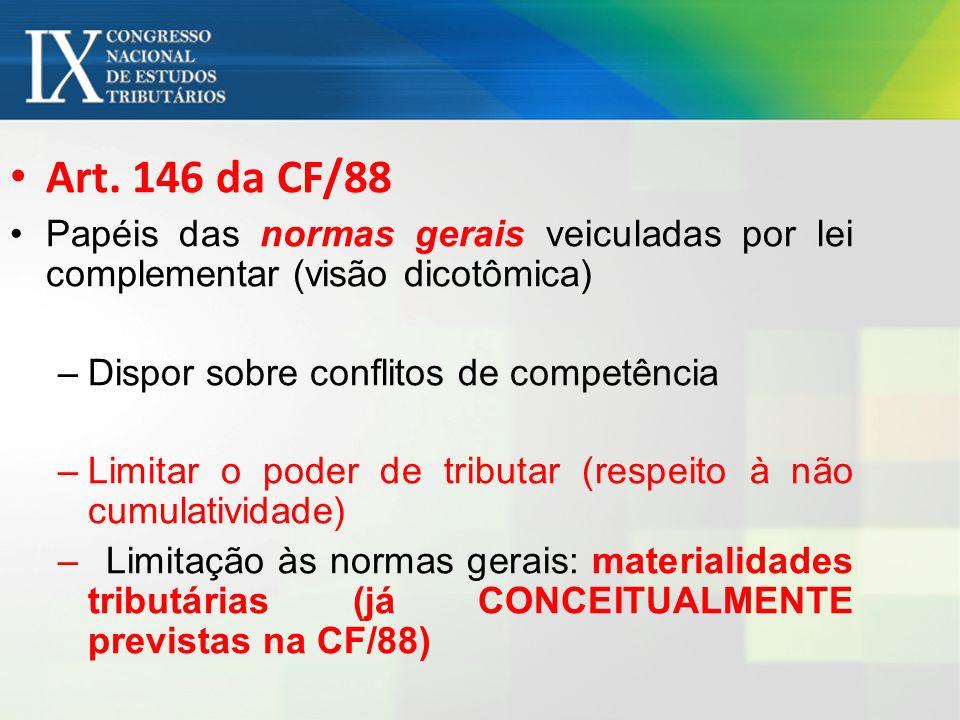 Art. 146 da CF/88 Papéis das normas gerais veiculadas por lei complementar (visão dicotômica) Dispor sobre conflitos de competência.