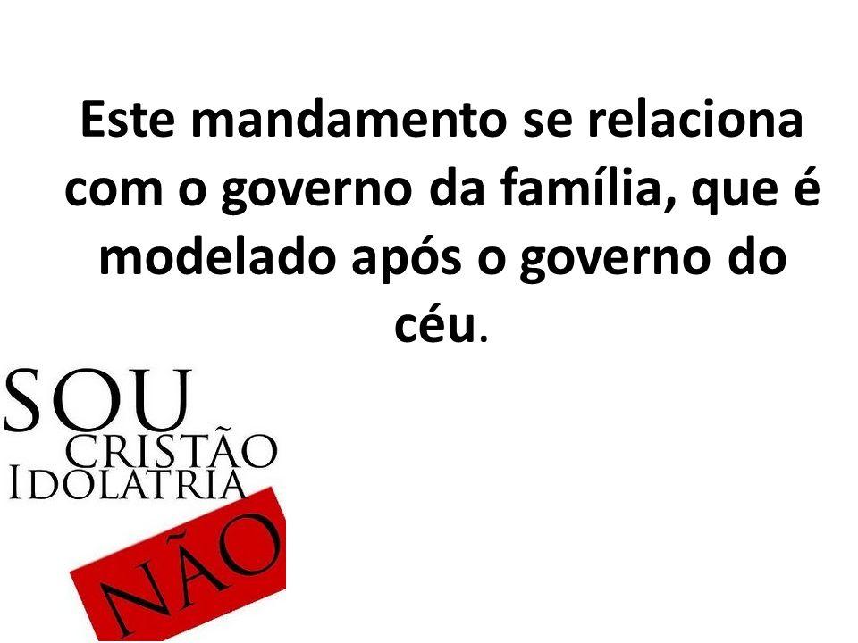 Este mandamento se relaciona com o governo da família, que é modelado após o governo do céu.
