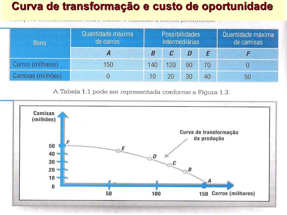 Curva de transformação e custo de oportunidade