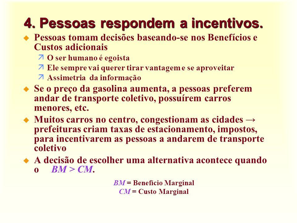 4. Pessoas respondem a incentivos.