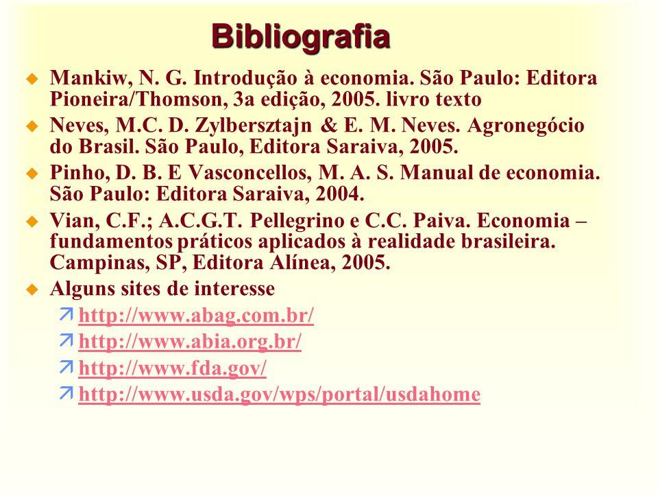Bibliografia Mankiw, N. G. Introdução à economia. São Paulo: Editora Pioneira/Thomson, 3a edição, 2005. livro texto.