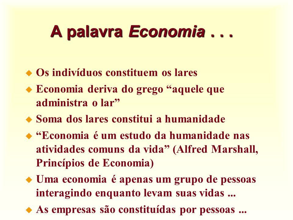 A palavra Economia . . . Os indivíduos constituem os lares