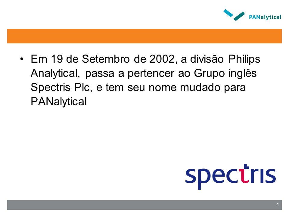 Em 19 de Setembro de 2002, a divisão Philips Analytical, passa a pertencer ao Grupo inglês Spectris Plc, e tem seu nome mudado para PANalytical