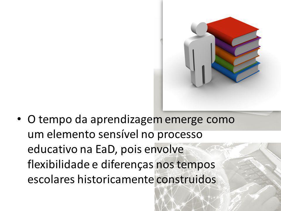 O tempo da aprendizagem emerge como um elemento sensível no processo educativo na EaD, pois envolve flexibilidade e diferenças nos tempos escolares historicamente construidos