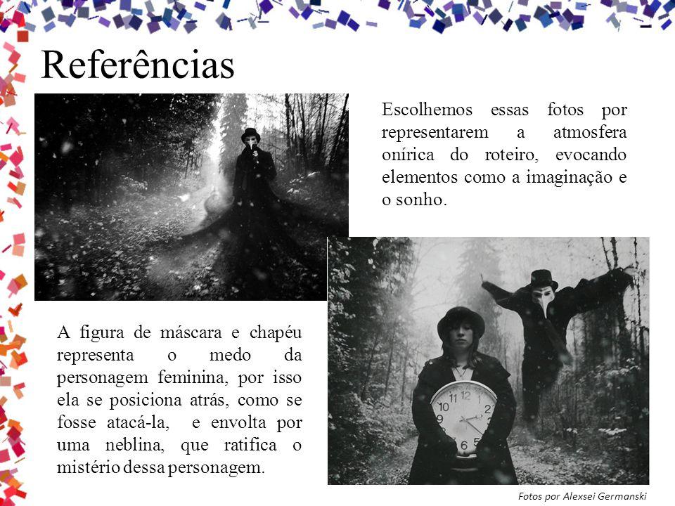 Referências Escolhemos essas fotos por representarem a atmosfera onírica do roteiro, evocando elementos como a imaginação e o sonho.