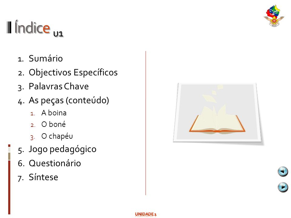 Índice u1 Sumário Objectivos Específicos Palavras Chave