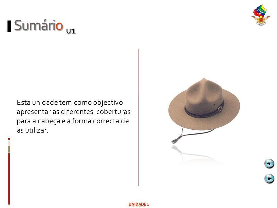 Sumário u1 Esta unidade tem como objectivo apresentar as diferentes coberturas para a cabeça e a forma correcta de as utilizar.