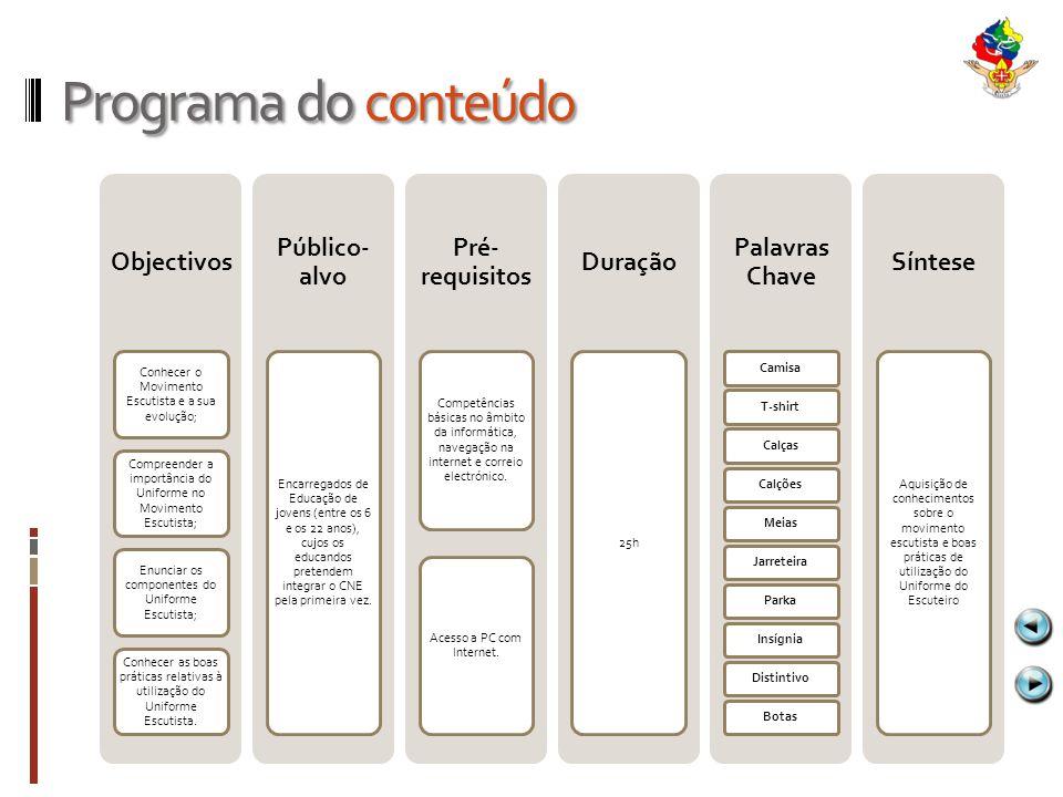 Programa do conteúdo Objectivos Público-alvo Pré-requisitos Duração