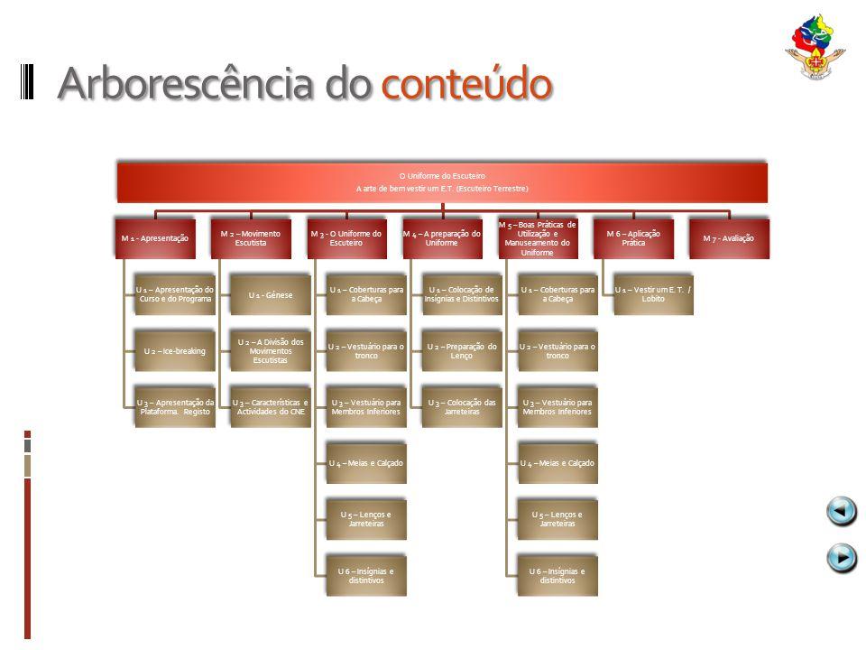 Arborescência do conteúdo