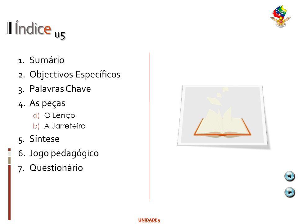 Índice u5 Sumário Objectivos Específicos Palavras Chave As peças