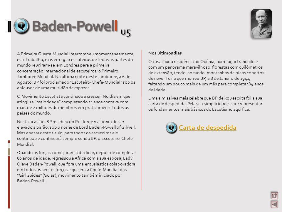 Baden-Powell u5 Carta de despedida Nos últimos dias