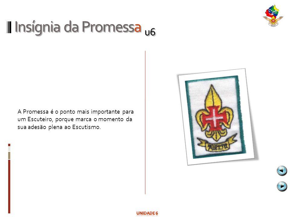 Insígnia da Promessa u6 A Promessa é o ponto mais importante para um Escuteiro, porque marca o momento da sua adesão plena ao Escutismo.