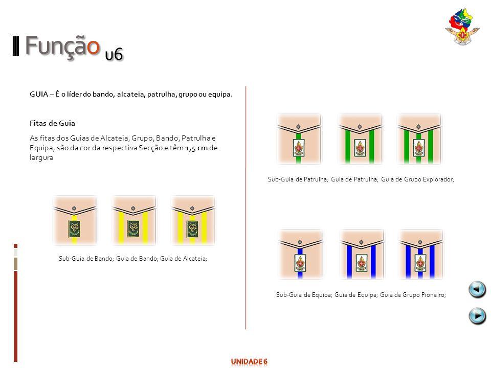 Função u6 GUIA – É o líder do bando, alcateia, patrulha, grupo ou equipa. Fitas de Guia.