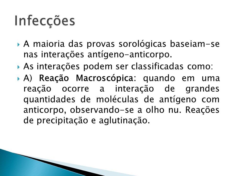 Infecções A maioria das provas sorológicas baseiam-se nas interações antígeno-anticorpo. As interações podem ser classificadas como: