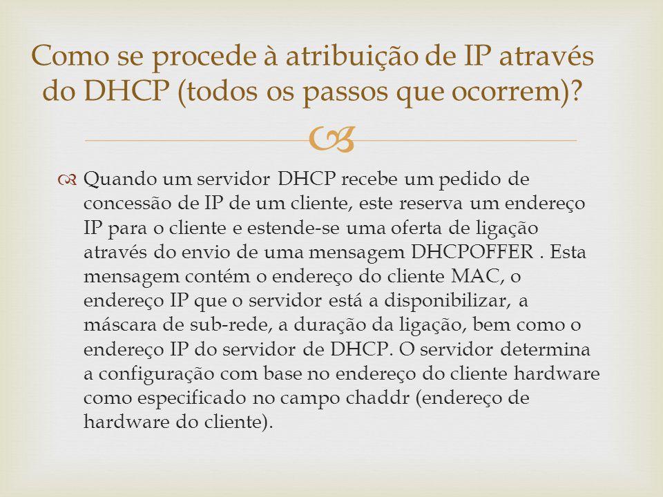 Como se procede à atribuição de IP através do DHCP (todos os passos que ocorrem)