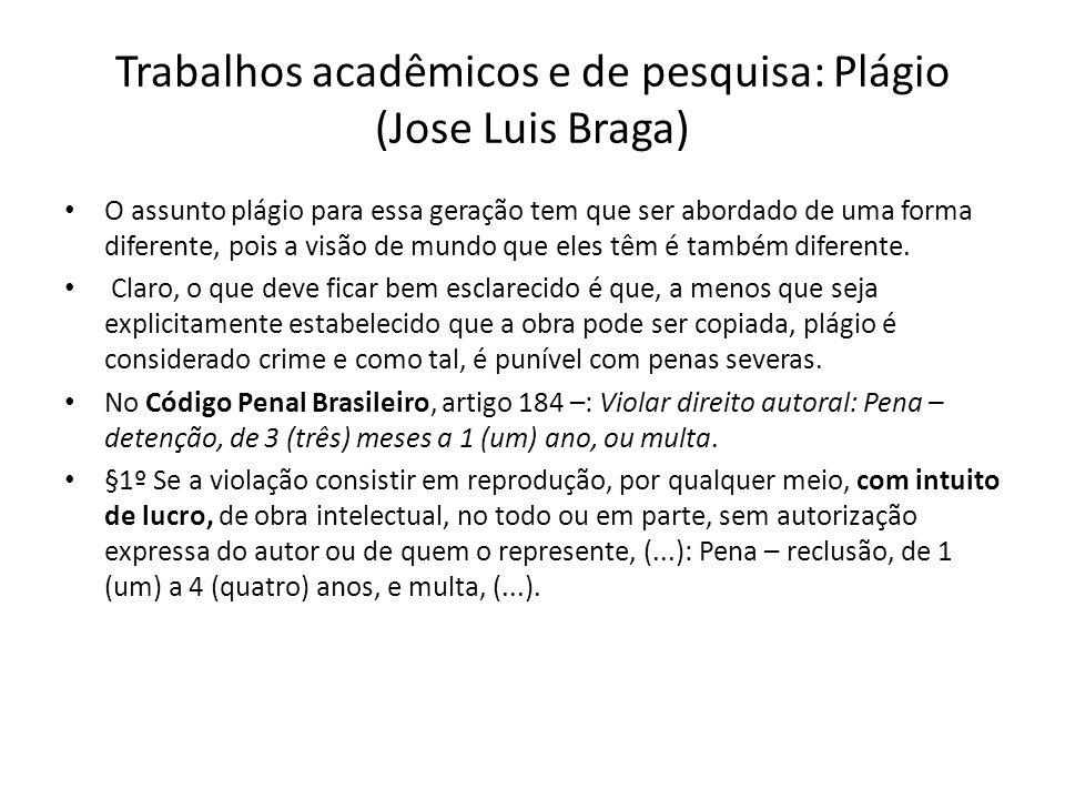 Trabalhos acadêmicos e de pesquisa: Plágio (Jose Luis Braga)