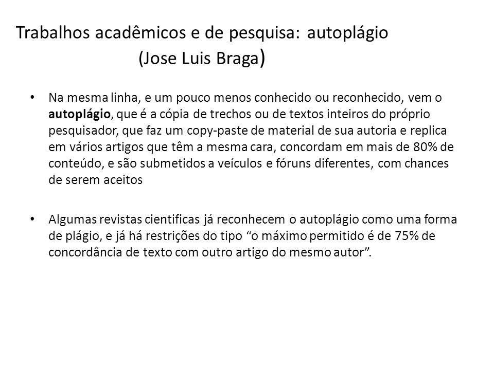Trabalhos acadêmicos e de pesquisa: autoplágio (Jose Luis Braga)