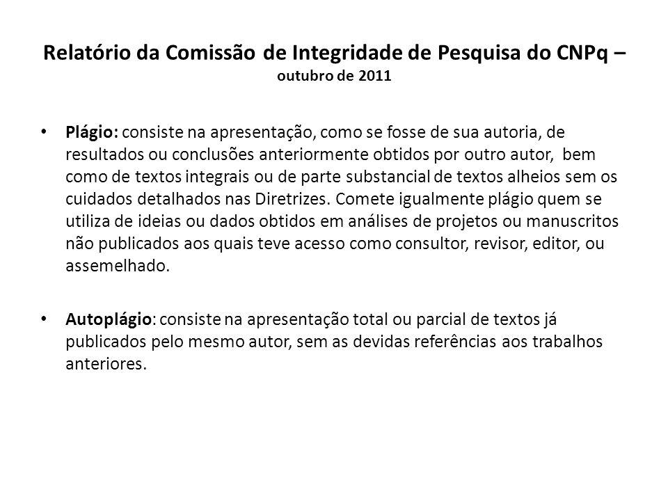Relatório da Comissão de Integridade de Pesquisa do CNPq – outubro de 2011