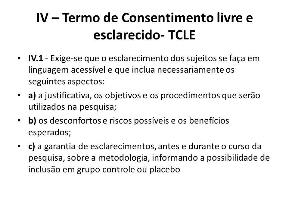 IV – Termo de Consentimento livre e esclarecido- TCLE