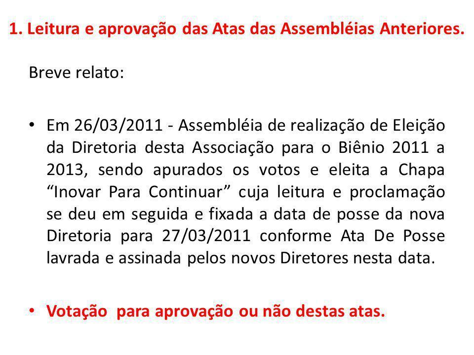 1. Leitura e aprovação das Atas das Assembléias Anteriores.