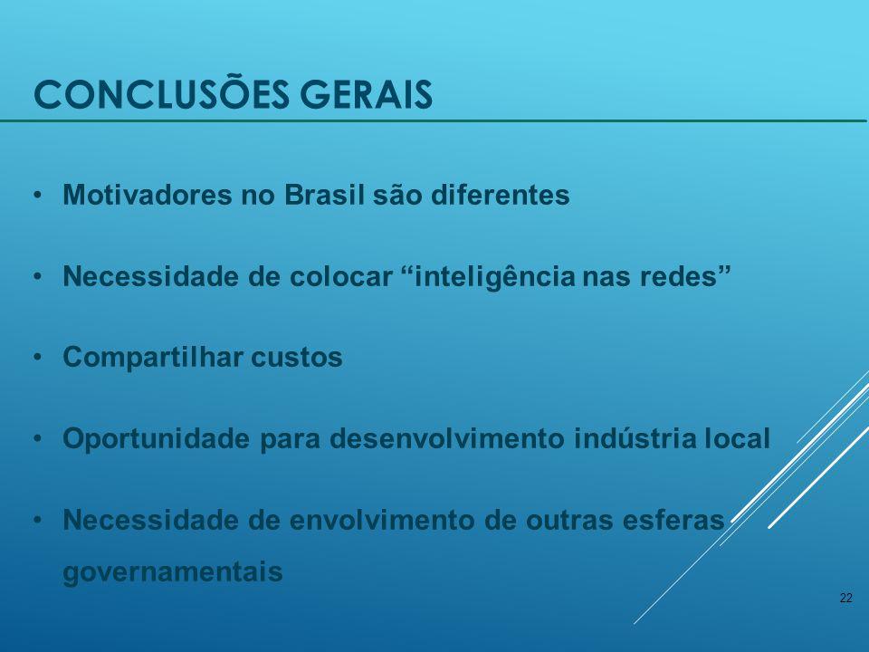 Conclusões Gerais Motivadores no Brasil são diferentes