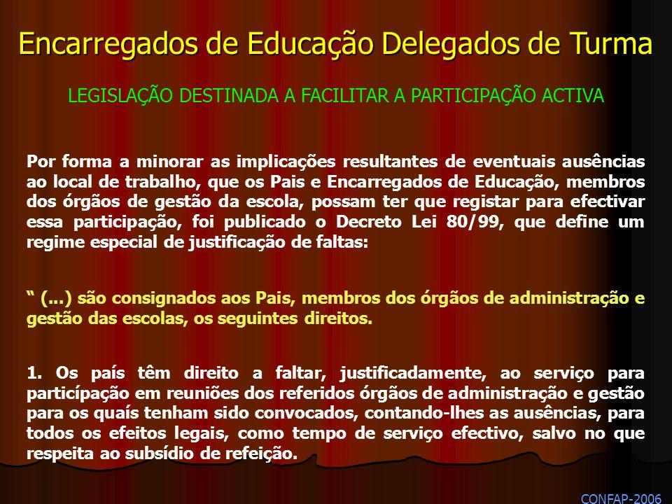 Encarregados de Educação Delegados de Turma