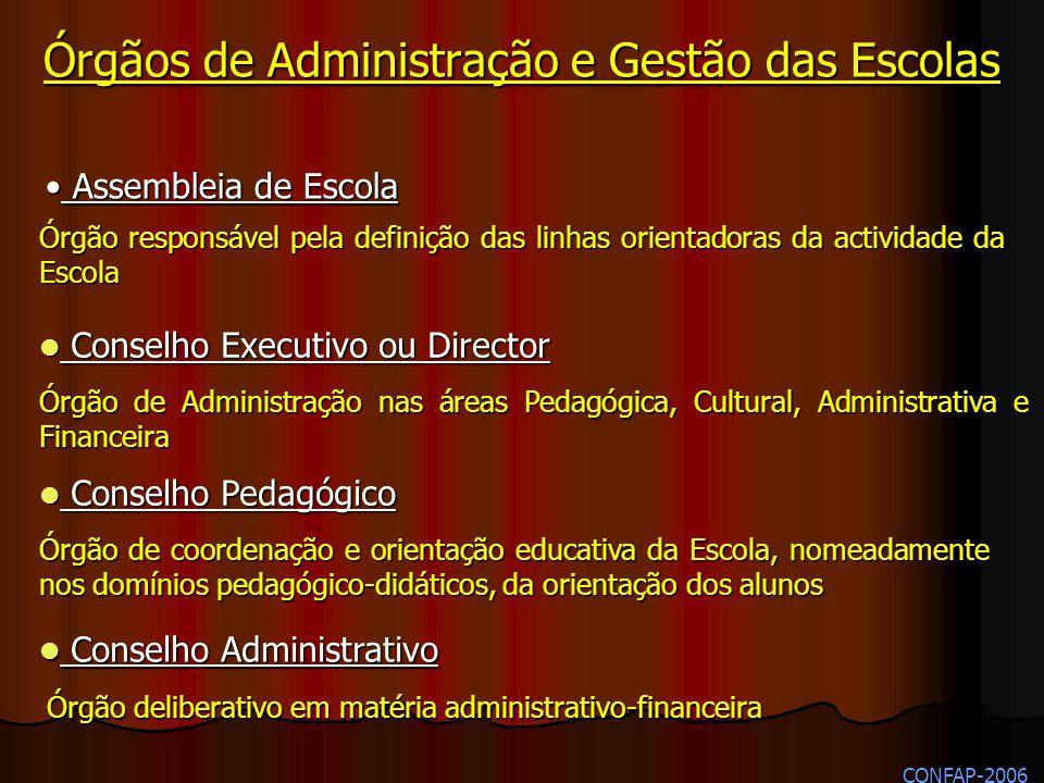Órgãos de Administração e Gestão das Escolas