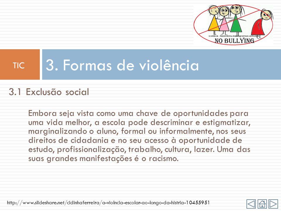 3. Formas de violência 3.1 Exclusão social TIC